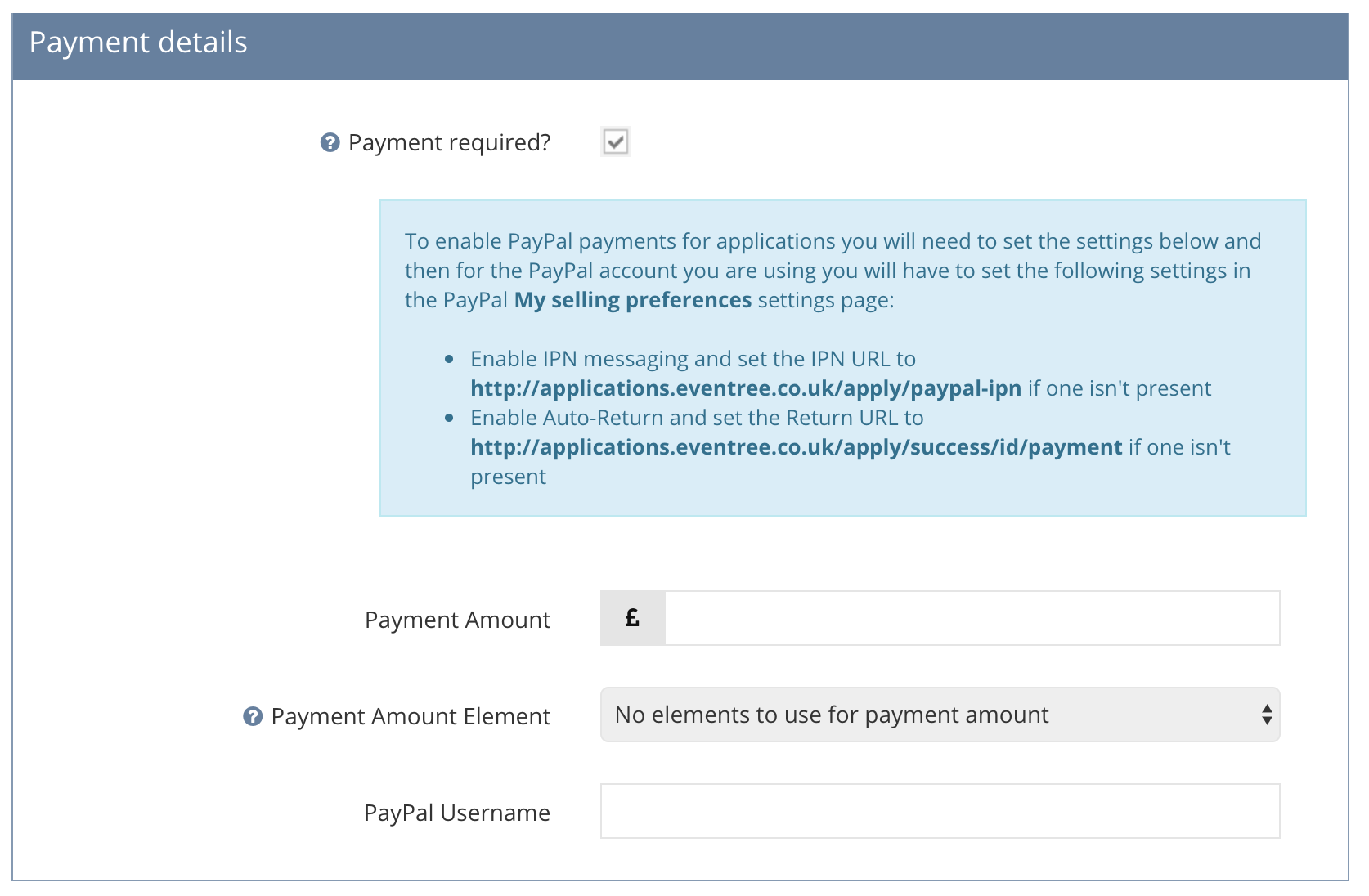 Payment needed checkbox