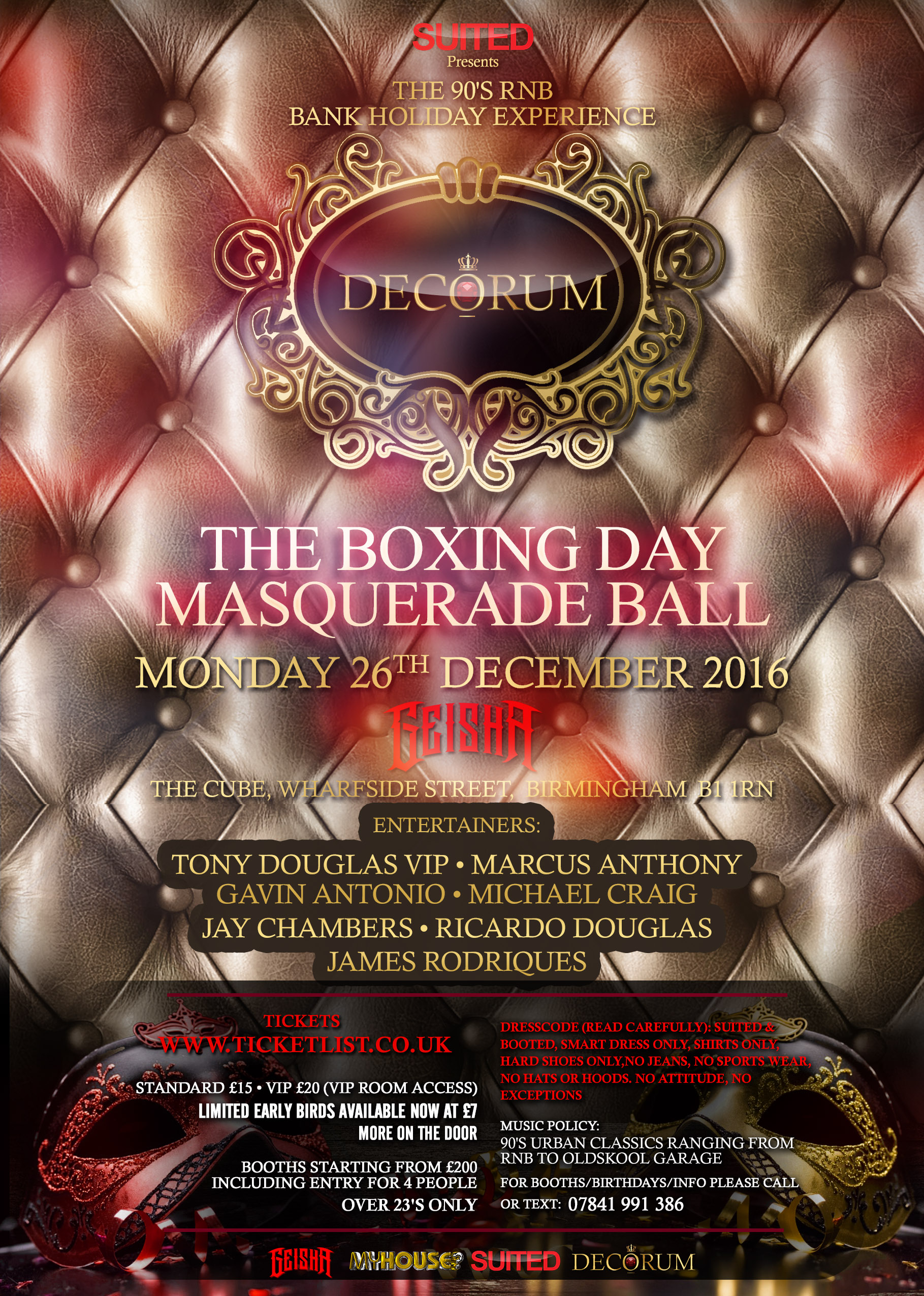 Decorum the boxing day masquerade ball at geisha tickets for Decorum meaning